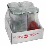 WECK 4T7-63 Saftflasche 1/4L inkl. Ringe und Klammern, klar/rot/silber (4er Pack)
