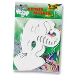 Folia Kindermaske aus Pappe inkl. Gummi, Elefant, weiß (6er Pack)