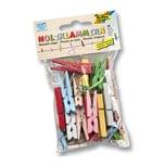folia 2295 Holzklammern, 48 Teile, verschiedene Größen & Farben, mehrfarbig (1 Packung)