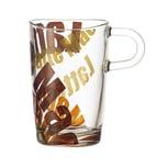 LEONARDO 089344 Loop Latte Macchiato Tasse, Glas mit Print, 400ml, H ca. 12,5cm, braun/transparent