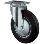 BS Rollen L400B55201 Lenkrolle Gummi 200mm galv. Gehäuse, 205 kg, schwarz/silber