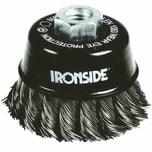 Ironside 243-006/608153 Topfbürste 80mm M14 0,5mm gezopft, für Winkelschleifer, schwarz/grau