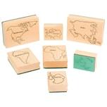 EDUPLAY 220134 Stempel Weltkarte, natur/grün, 7-teilig (1 Set)
