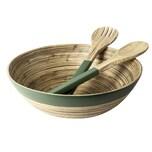 GUSTA Set Salatbesteck mit Schale Ø 30 cm Bambus natur/grün 1 Set