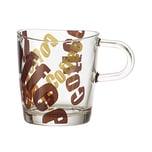 LEONARDO 089343 Loop Kaffeebecher mit Henkel Glas mit Print 260ml H 88cm braun/transparent 1 Stück