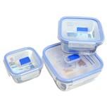 Luminarc Pure Box Vorratsdosen-Set, quadratisch, mit Active Deckel, klar/blau, 3-teilig (1 Set)