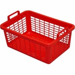 Lockweiler 103-905042 Wäschekorb, eckig, Kunststoff, 50 x 35 x 20 cm, 26 Liter, rot