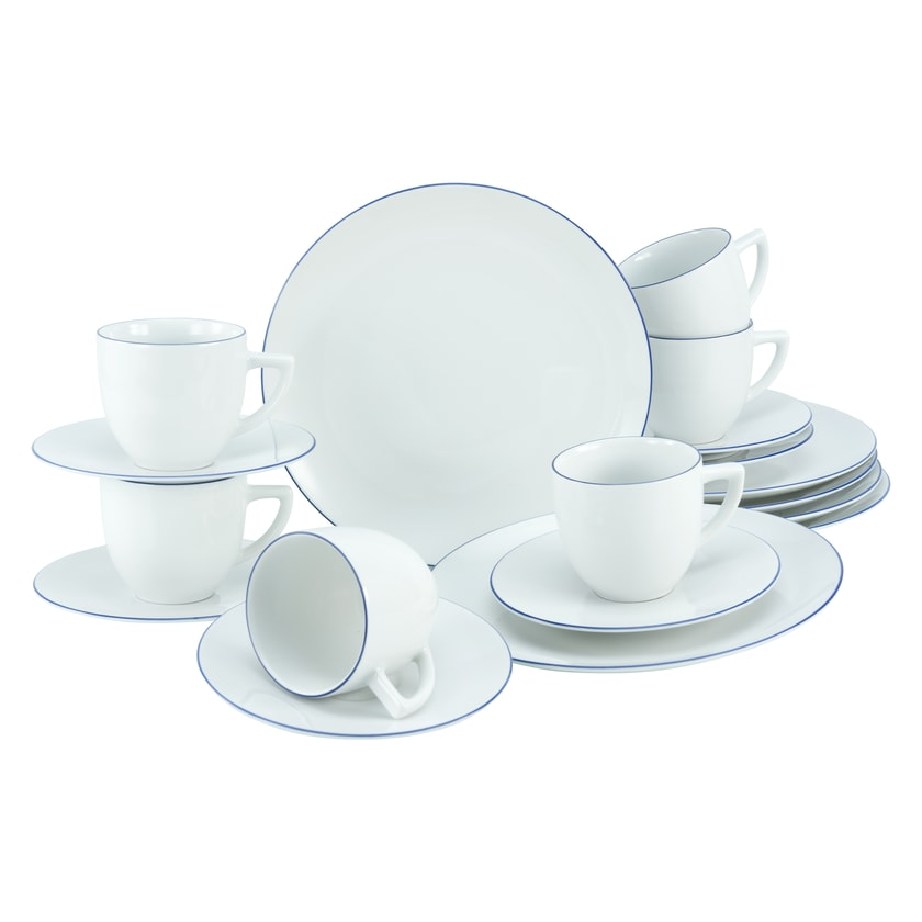 CreaTable 22453 Kaffeeservice Enjoy Blue Line für 6 Personen Porzellan mehrfarbig 1 Set 18-teilig