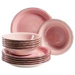Mäser Tellerset Lumaca für 6 Personen im modernen Vintage Look rosa 12-teilig
