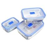 Luminarc Pure Box Vorratsdosen-Set, rechteckig, mit Active Deckel, klar/blau, 3-teilig (1 Set)
