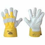 Handschuh RADLADER Gr10, natur, Rindvolleder, weiß/gelb (1 Paar)