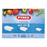 Pyrex Auflaufform Irresistable, Borosilikatglas 1,4 l / 2,9 l / 3,8 l, 3-teilig (1 Set)
