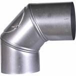 FIREFIX A130/BU Ofenrohrbog.90° FALØ130mm drehbar mit Tür, grausilber