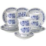 CreaTable 11695 Kaffeeservice Ivona für 6 Personen + Zwiebelmuster, Porzellan, blau/weiß (1 Set, 18-teilig)