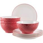 Mäser Schüssel- und Desserttellerset Telde rot/weiß 8-teilig