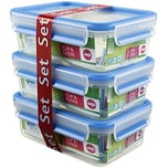 EMSA Clip & Close Frischhaltedose 1l, Kunststoff 19,7 x 13,6 x 20,1 cm, klar/blau (3er Pack)