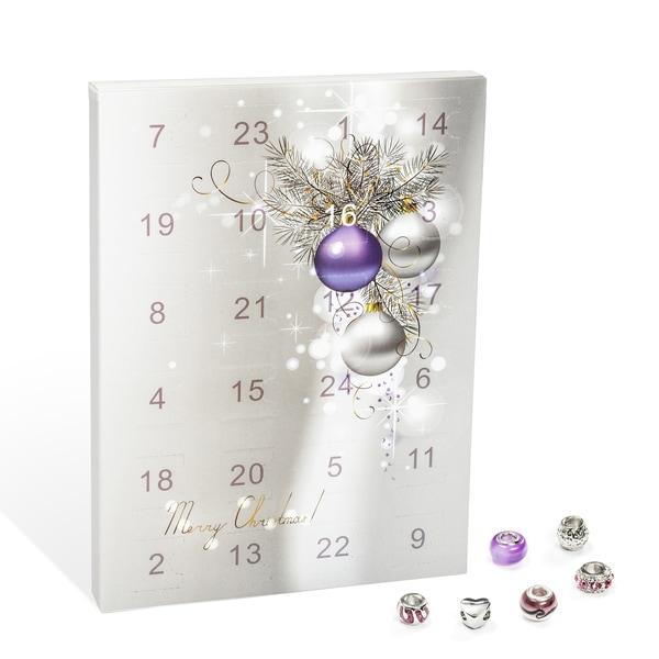 VALIOSA Merry Christmas Mode-Schmuck Adventskalender mit Halskette, Armband + 22 individuelle Perlen-Anhänger aus Glas und Metall, das besondere Geschenk für Mädchen und Frauen, lila, 24-teilig (1 Set)
