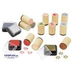 EDUPLAY 320015 Holzstempel Weihnachts-Mix, mehrfarbig, 16-teilig (1 Set)