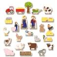 Bauernhof für Kinder mit 24 Holzfiguren, hochwertigem Spielkoffer und weihnachtlicher Tier-Geschichte, mehrfarbig, 26-teilig (1 Set)