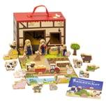 Bauernhof für Kinder mit 24 Holzfiguren, hochwertigem Spielkoffer und weihnachtlicher Tier-Geschichte, 26-teilig (1 Set)