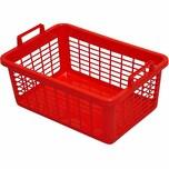 Lockweiler 103-906242 Wäschekorb, eckig, Kunststoff, 62 x 43 x 25 cm, 45 Liter, rot