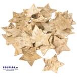 EDUPLAY 310280 Naturholzscheiben Rinde Stern, 5 x 5 x 0,3 cm, natur, 30-teilig (1 Set)