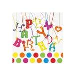 JET PAPIER Lunch-Serviette 33x33cm Happy Birthday (20er Pack)