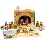 Spielkrippe mit Holzfiguren für Kinder in hochwertigem Aufbewahrungs-Koffer mit Weihnachts-Geschichte, mehrfarbig, 26-teilig (1 Set)