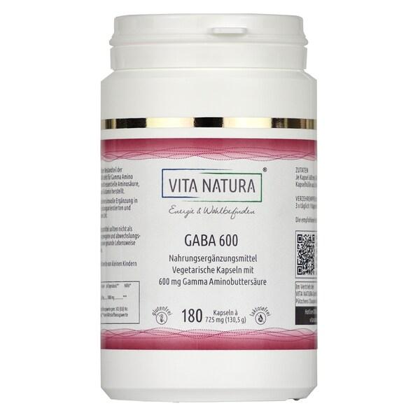 Vita Natura GABA 600 mg Vegikapseln 180 Stk. (Gamma-Amino-Buttersäure)