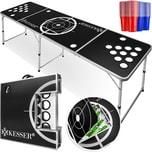 KESSER Beer Pong Tisch Set Eisfach 100 Becher 50 Rot & 50 Blau 6 Bälle Regelwerk