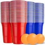 KESSER Beer Pong Tisch Set mit 100 Becher 50 Rot & 50 Blau 6 Bälle Regelwerk