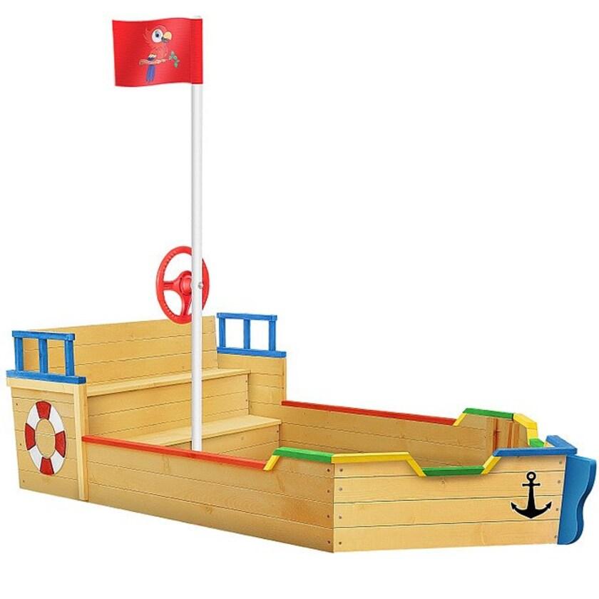 KIDIZ Sandkasten Ahoi Piratenschiff Holz mit Abdeckung Bodenplane Sitzbank