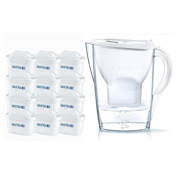 Brita Marella Cool White Kanne & Wasserfilter mit 12x Maxtra+ Kartuschen