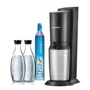 SodaStream Crystal 2.0 black Wassersprudler inkl. 2 Glaskaraffen