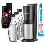 SodaStream Crystal 2.0 Wassersprudler, schwarz, + 3 Karaffen +2 Pepsi MAX