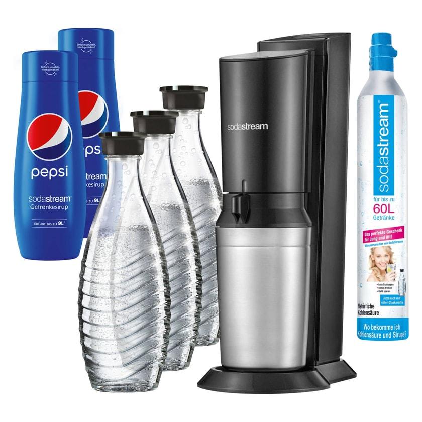 SodaStream Crystal 2.0 Wassersprudler schwarz, 3 Karaffen und 2 Pepsi-Light-Sirup