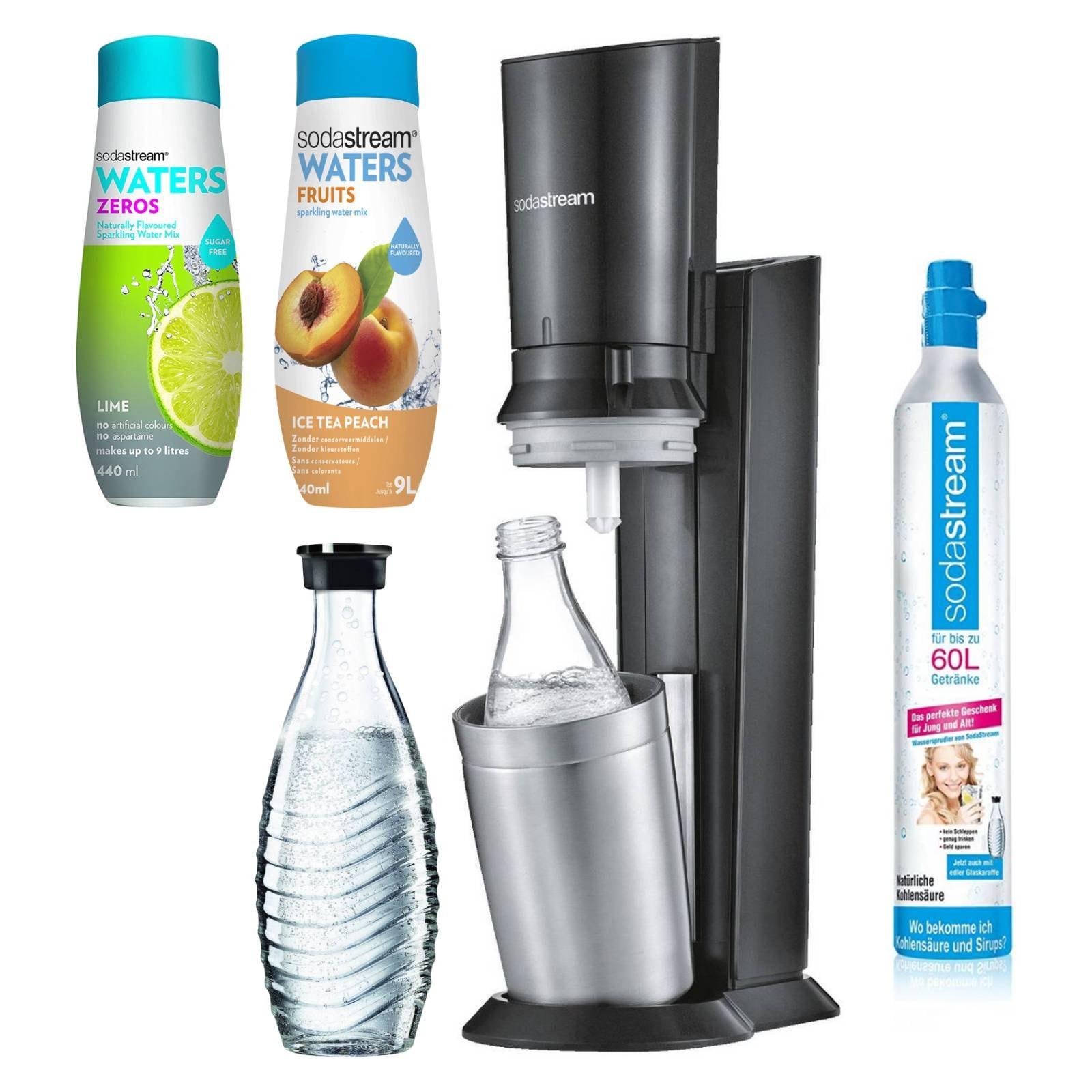 SodaStream Crystal 2.0 + 2 Glaskaraffen + 2 x Sirup