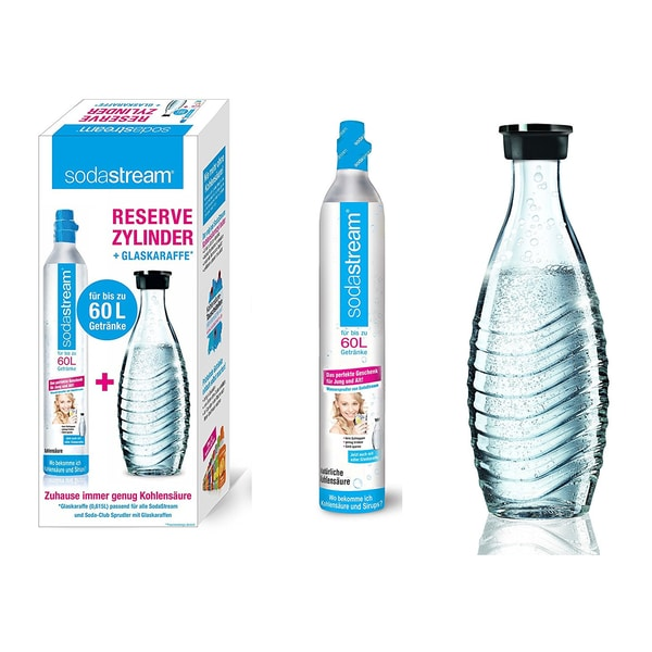 SodaStream Reservezylinder 60 L + 1 Glaskaraffe