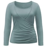 Curare Yoga Curves Collection Wrap-Shirt eukalyptus blue