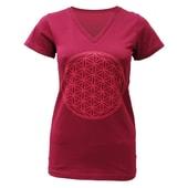 yogistar Yoga-T-Shirt Flower of Life bordeaux