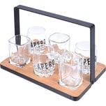7-tlg. Servier Set mit 1 x Tablett 22,5 x 15,2 x 14,5 cm und 6 x verschiedene Gläser