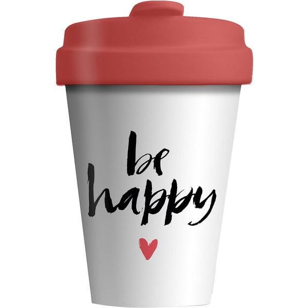"Bambus Coffee to go Travel Mug ""be happy"""