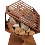 esschert design Feuerkorb mit Brennholzfach