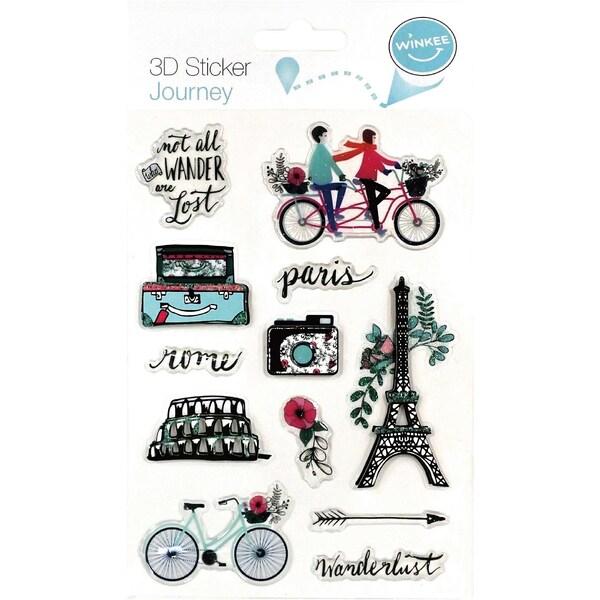 12-tlg. 3D Sticker Set Reisen