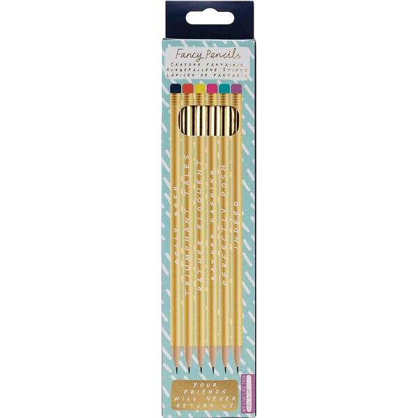 6-tlg. Goldenes Bleistift Set Notes To Self mit Sprüchen