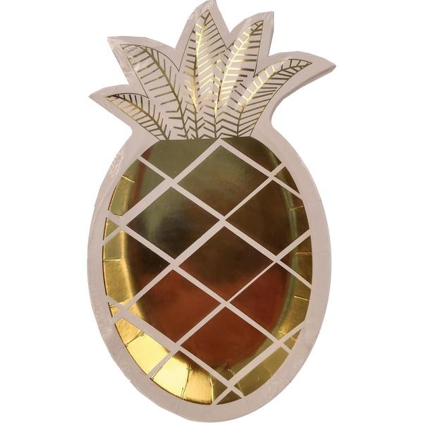 8er Set Papp-Teller Gold Ananas