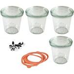 WECK 4er-Set Einweckgläser Sturzglas-Form 0,5l mit Deckel Gummis Klammern