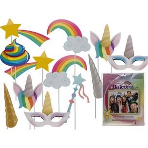 12-Tlg. Set Party-Foto-Verkleidung Auf Stick Einhorn  Regenbogen