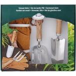 esschert design Edelstahl Gartenset mit Blumenkelle Gabel und Handschuhen