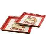 "BOLTZE 2-tlg. Set Dekotabletts ""Santa Claus"" L26-30 cm"
